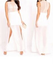Stunning Misguided Maxi Dress Long Embellished Sequin Leaf White Nude Mesh Gown