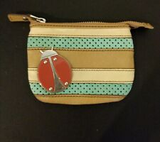 🌺FOSSIL Leather Zip Wallet Ladybug with Blue and Tan Brown Stripes