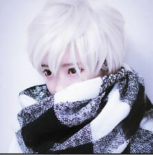 Men Handsome Boys Short Silver White Heat Resistant Hair Cosplay Anime Wigs+Cap