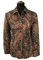 Coldwater Creek Womens Tapestry Jacket Button Down Front Paisley Print Sz Small