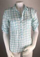 Cloth & Stone XSmall Women's Blouse Popover Blue Plaid Roll Sleeves V Neck