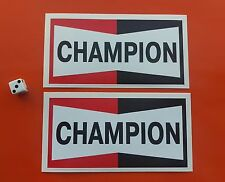 "CHAMPION Spark Plugs STICKERS 6""x3"" Pair Classic Rally Racing decals"