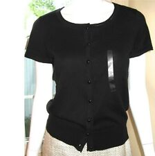 NWT Ann Taylor Short Sleeve Cotton Cardigan Sweater  $60  Black  New