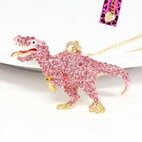 Betsey Johnson Enamel Crystal Dinosaur Tyrannosaurus Pendant Chain Necklace Gift