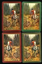 4 Vintage Listed Swap Playing Card FOX HUNTING MASTER OF HUNT WITH HORN & HOUNDS