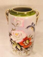 Imperial Nippon Translucent Porcelain Vase Hand Painted Roses & Poppies C1891