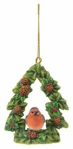 Vivid Arts - Hanging Christmas Robin floral tree - Decoration 9cm High