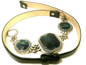Chico's Black Leather Silvertone Metal Belt Chunky Green Blue Inlaid Stones Sz M