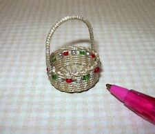 Miniature Wilhelmina Woven Christmas Basket with Beads: DOLLHOUSE 1:12