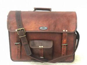 "18"" Leather Messenger Men's Shoulder Laptop Push Lock Satchel Briefcase Bag"