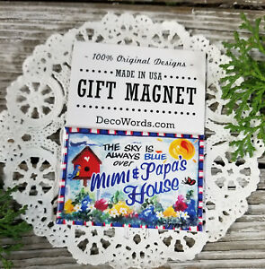 Mimi Papa Gift Magnet * Family First * Our Exclusive Design Made in USA New *