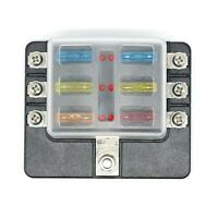 6-Way Blade Fuse Box Fuse Block Holder with Fuses for 12V 24V Car Marine R1BO