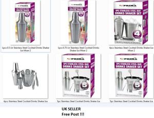 COCKTAIL/MOCKTAIL MAKER SHAKER 5/4pc  0.75Ltr Stainless Steel Ice Mixer Set Kit