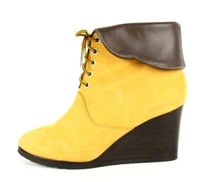 CHLOE $945 Gold Nubuck & Brown Leather CANDELA Lace-Up Booties Wedges 40