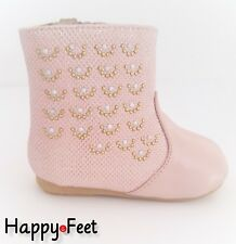 NEW BABY GIRLS WINTER SPANISH STYLE PINK SPARKLE WALKING ANKLE BOOT IN SIZE 6