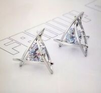 Womens Triangle Pierced Silver Crystal Zircon Stud Earrings