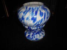 """LOVELY BLUE ART DECO GLASS POT VASE SPLASHES BLUE SPLATTER MARBLED 4.5"""""""