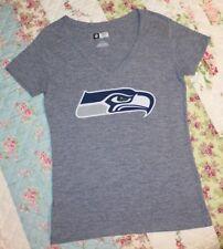 NFL Team Apparel Womens sz MEDIUM Seattle Seahawks Gray T-Shirt Top, V-Neck