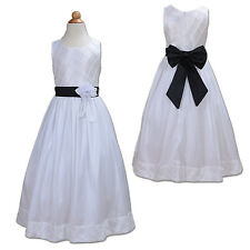 New White and Black Sash Bridesmaid Party Flower Girl Dress 3-4 Years