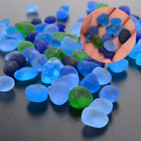 100Pcs Sea Beach Glass Beads Blue Green Mixed Colors Jewelry Pendant 12-18mm