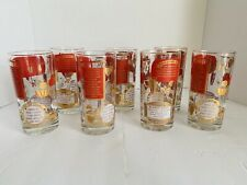 Vintage MCM Mid Century High Ball Cocktail Glasses Drink Recipes Set Of 7 Cheers