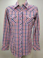 Cowgirl Up Womens Western Snap Shirt Size S Pink Blue Plaid Long Sleeve Bling