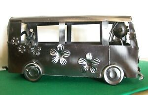 Welded Metal Art Doormobile Twin Wine Bottle Holder ~ Very Good Condition