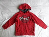NEXT Boys Girls Unisex Red Hooded Long Sleeve Jumpers Size 6 Years