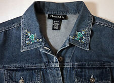 Denim & Co Womens Medium Jean Jacket Blue Denim Embroidered Flowers On Collar