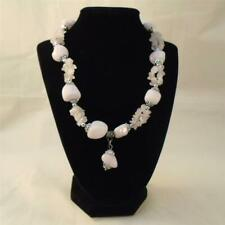 LYDELL NYC NATURAL ROSE QUARTZ STONE PINK CHUNKY STATEMENT NECKLACE FREE SHIP VC