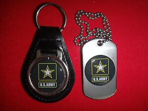 US ARMY Black Leather Key Ring + Matching Dog Tag New