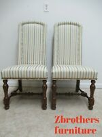 Pair Rare Ethan Allen Charter Oak Jacobean Hobb Nail Dining Room Side Chairs A