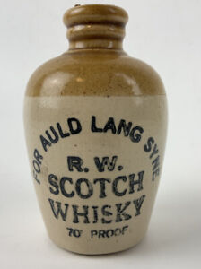 MINI JUG Antique Vtg ADVERTISING Scotch Whisky STONEWARE Crock Robert Wallace