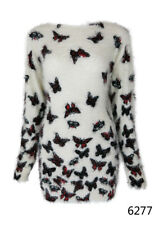 Brand New Women Lady's Butterfly Print Fluffy Knit Jumper Sweater High Quality