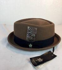 New Christys Wool Felt  porkpie fedora hat Brown Pecan Diamond Crown LARGE NEW