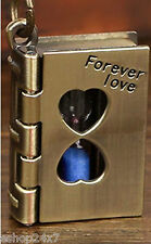 Sand Timer Jar Book Shape Forever Love Metal Steel Keychain Key RING Chain
