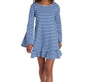 PHILOSOPHY Striped Blue& White,  Beaded Fringe Bell Sleeve Dress/ Tunic- Large