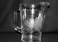 Pitcher Heavy Glass  Etched Pine Cones Great For Water Tea Or Beer Holds 64 Ozs.