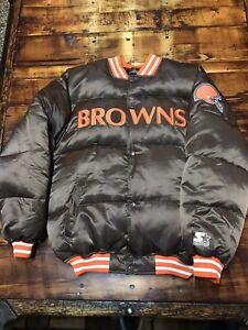 RARE Cleveland Browns Men's Satin Puffer STARTER  Jacket Coat SZ M/L EUC BAKER