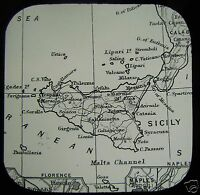 Glass Magic Lantern Slide MAP OF SICILY C1890 ITALY