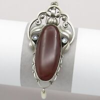 "Vtg Antique Art Nouveau 800 Silver Natural Carnelian LARGE 3"" Pearl Pendant"