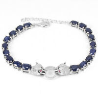 GENUINE BLUE SAPPHIRE & PINK-WHITE CZ STERLING 925 SILVER TIGER BRACELET 8.75