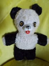 "Vintage IDEAL 12"" Panda Bear Stuffed Animal Rubber Nose Mouth"