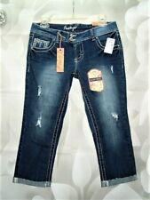 NEW AMETHYST Womens DiSTReSSeD LoW-RiSe Denim CRoP CaPRiS Jeans Size  7