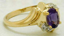 NATURAL 1.23 Carats AMETHYST & DIAMONDS 10k Yellow Gold Ring *FREE SHIPPING