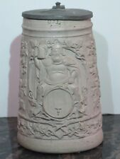 Antique 1L Regensburg Style German Beer Stein with King Gambrinus and Pewter Lid