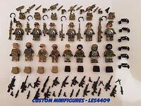 14pc Army | Military | SWAT | WWII Soldier Custom Minifigure +FREE LEGO BRICK UK