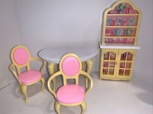 Vintage 1996 Barbie Dining Room Table 2 Chairs Hutch My Folding Pretty House