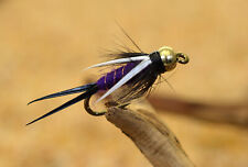 1 Doz Purple Prince Nymph Fishing Flies - Mustad Signature Fly Hooks