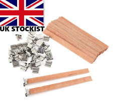 Wooden Wood Candle Wicks Metal Sustainer 130mm - Craft Candle Making - UK SELLER